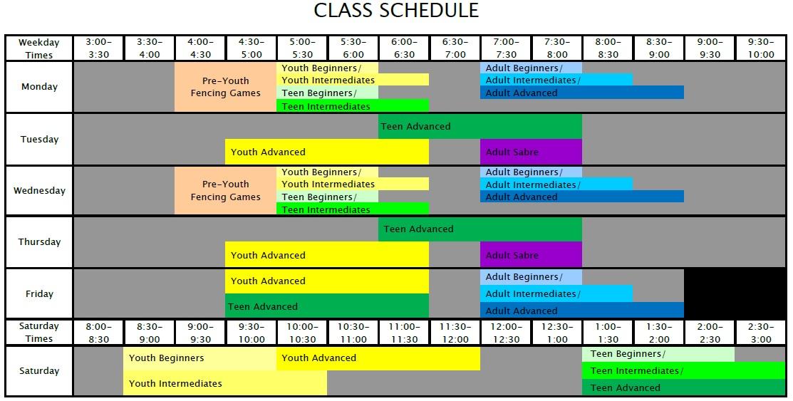 DVFC Class Schedule