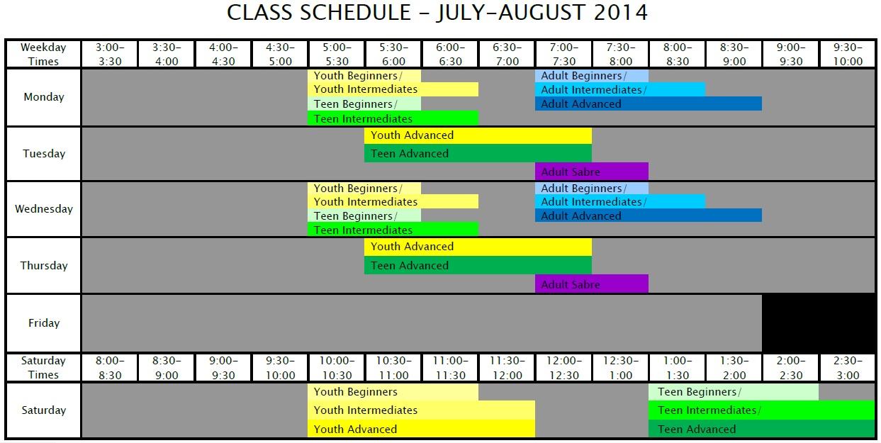 DVFC Summer Class Schedule