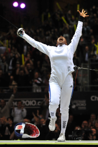 Yes.  This is what fencing feels like.  Epeeist Maureen Nisima (France) celebrates after winning the 2010 World Championship in Paris.  Copyright www.FencingPhotos.com.